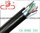 CAT6 провод куртки кабеля F/Utpcat6 напольный 4X23AWG +PE