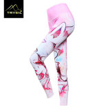 Rosafarbenes Mädchen-Drucken-Knöchel-Längen-Yoga keucht festes Legging