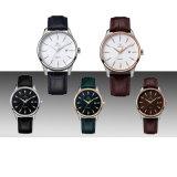 Relógios de pulso 72329 da cinta de couro do movimento de quartzo da tâmara do relógio de Mens auto