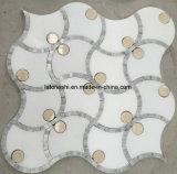 mosaico Waterjet di marmo bianco 300X300 per la decorazione del pavimento della parete