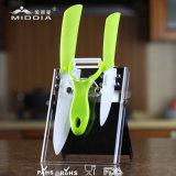 4pcs ustensiles de cuisine pour l'ensemble de bloc de couteau en céramique avec Peeler