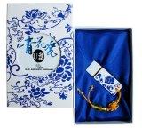 De blauwe en Witte Aandrijving van de Pen van het Porselein 4GB 8GB USB met de Doos van de Gift