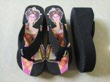 Черный ремешок клин пятки леди летней обуви