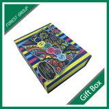 Boîte cadeau en papier magnétique rayé couleur