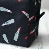 سوداء لون أحمر شفاه يطبع نوع خيش مستحضر تجميل حقيبة بنية حقيبة