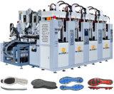 Color doble Tr de 4 estaciones. Máquina de las plantas del pie del PVC con el motor servo