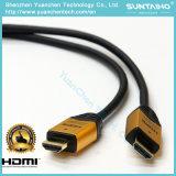 나일론 이더네트 2.0V를 가진 재킷 알루미늄 쉘 24k 금에 의하여 도금되는 HDMI 케이블