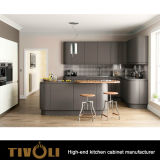 Disegno laminato impiallacciato della cucina con la parte superiore Tivo-0212h del banco del quarzo e della mensola aperta