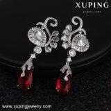 Goutte pour les oreilles de luxe de bijou de modèle de cygne de Zircon de Xuping de mode en rhodium plaqué