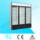 Refrigerador de la bebida del supermercado cuatro Refrigerador de la puerta de cristal con Ce