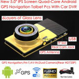 "5.0 ""854 * 480pixels IPS Capacitive Android 6.0 Car Tablet PCS com GPS Navigator, Dual Car Camera, 1080P Car DVR, câmera de estacionamento Digital Video Recorder, WiFi"