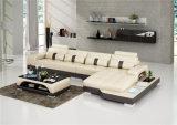 De estilo europeo moderno sofá de cuero beige con luz LED (HC1123)