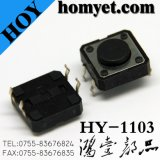 High Quality12 * 12 * 8 DIP Tact Switch avec bouton rond 4pin (HY-1103-H8)