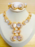 Chapado en oro Joyería de moda boda nupcial damas juego de Joyas de regalo
