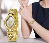 Oro de lujo de los relojes de la joyería de la batería de cuarzo de las señoras de Belbi, T/T, reloj de plata del diseño de la dial del diamante de la flor