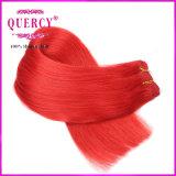 多彩で熱く赤いブラジルのバージンの人間の毛髪はよこ糸の直毛の拡張を編む