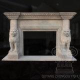 Escultura de mármore animal da chaminé do grande leão branco quente do Travertine da qualidade 2018