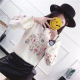 Nova Moda de malha de bordar Pulôver Suéter Blusa com capuz para Ladie