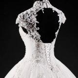 Hohe Muffen-Backless bördelndes Spitze-Brauthochzeits-Kleid