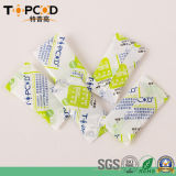 1g che indica il gel di silice disseccante con l'imballaggio del sacchetto di plastica