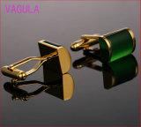 VAGULA 고급 Catseye 커프스 단추 금 커프스 단추 오닉스는 셔츠 Gemelos 프랑스 커프스 단추를 친다