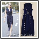 Fashion Sleeveless Long Trenchオフィスの女性服