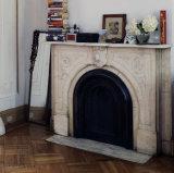 Mensola del camino di marmo bianca del camino con il reticolo floreale T-7205