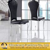 De Cuero negro clásico comedor de lujo en silla de metal