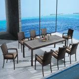 Composited di legno con la Tabella di alluminio & di vimini di rettangolo della mobilia del giardino del patio con la presidenza impostata (YTA362-1&YTD5363-1)