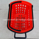 Тяжелое Loading Supermarket Goods Shopping Plastic Handle Basket с Wheel