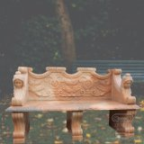 Sunset Red Marbleの手Carved Bench