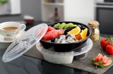 Heißes Bento/Mahlzeit/runder Wegwerf3-compartment pp. Plastikmikrowellen-Nahrungsmittelbehälter