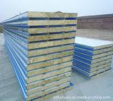 屋根のための絶縁された耐火性の鋼鉄Rockwoolサンドイッチパネル
