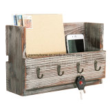 Montado na parede de madeira Vintage rústico Mail Suporte com ganchos de Chave