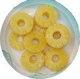 L'ananas inscatolato in sciroppo chiaro ha imballato in bottiglia di vetro