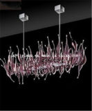 Lampadario a bracci rosa-intenso di Blown Glass per Decoration