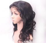 Das mulheres retas de seda de seda brasileiras reais do laço do cabelo humano de 100% peruca cheia do laço