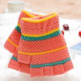2017の冬の方法子供のかわいく短いプラシ天の手袋、編まれる半分指のカスタム暖かい卸し売り安い子供