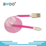 Cabo de dados liso colorido do USB de Bwoo com o conetor do chapeamento de ouro