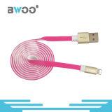 Bwoo 금 도금 연결관을%s 가진 다채로운 편평한 USB 데이터 케이블