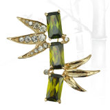 VAGULA Green Bamboo Gold Plating Broche strass