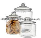مجموعة من 3 زجاجيّة تخزين مرطبان يعرض زجاج