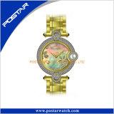 Reloj inoxidable del regalo de las mujeres de la venda de acero del bisel del diamante con la perla