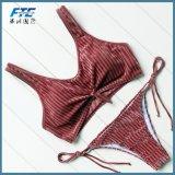 2018년 OEM 도매 여자의 섹시한 우단 수영복 2개 피스 비키니