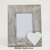 Vintage de nuevo el corazón de madera el marco de fotos