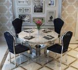 De marmeren Witte Marmeren Ronde Eettafel van de Bovenkant/van het Roestvrij staal