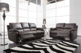 Wohnzimmer-Sofa mit dem modernen echtes Leder-Sofa eingestellt (654)