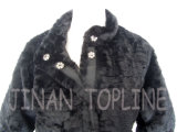 Cappotto di pelliccia lungo di falsificazione della pelliccia del Faux delle donne con i tasti