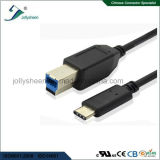 Cabo de impressora USB com tipo C macho para USB B / macho Cabeça de PVC preto
