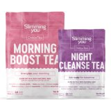 Herbal Detox Burn Fat Morning Boost e Night Cleanse Tea (programa de 14 dias)